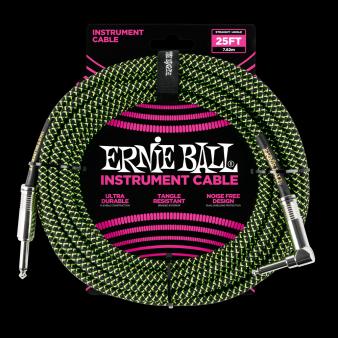 Ernie Ball Кабель 7,6м кабель Зеленый/Черный