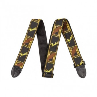 "Fender 2"" Monogrammed Strap Black/Yellow/Brown гитарный ремень"