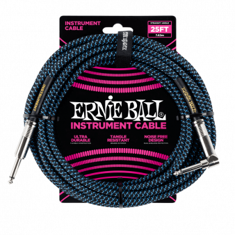 Ernie Ball Black/Blue кабель гитарный угловой 7,6 метров